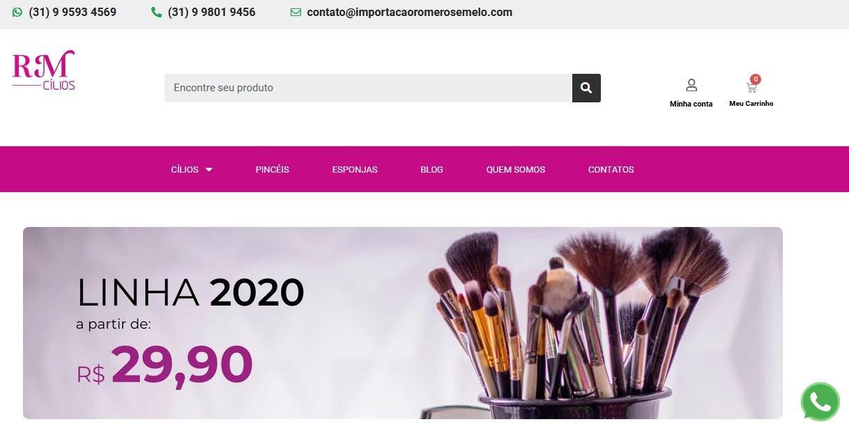 Criação de Loja Virtual Produtos de Beleza – Cílios RM
