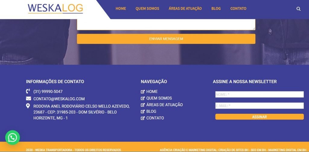 Criação de Sites para Transportadoras em BH – Weskalog