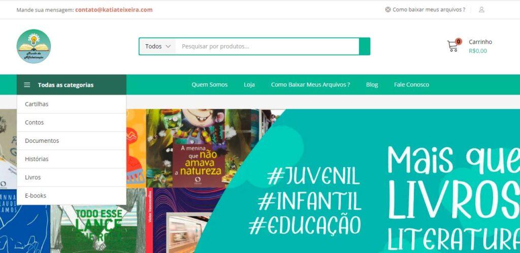 Criação da loja virtual Mundo da Alfabetização