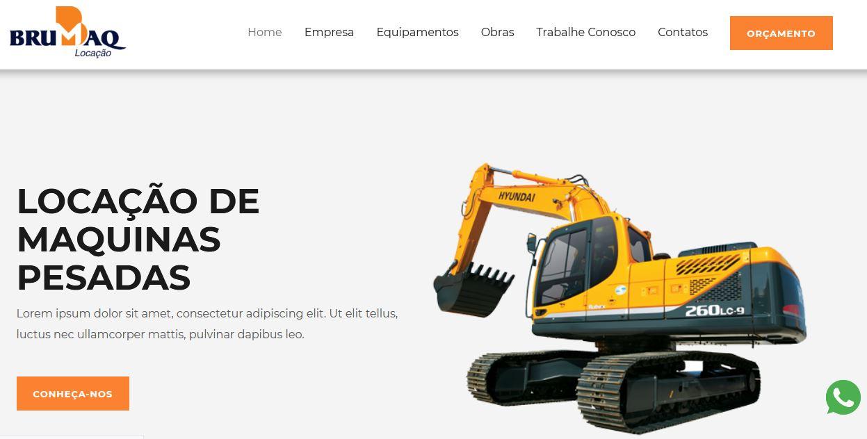 Criação do site Brumaq Locação de Máquinas Pesadas