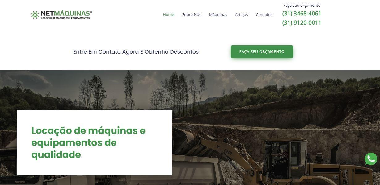 Desenvolvimento de site para NetMáquinas Locação de Máquinas e Equipamentos. Confira agora mesmo!