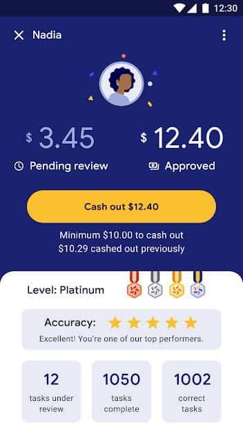Tela com o saldo do Google Task Mate. Dinheiro só entra na conta após tarefas serem revisadas pelo Google.