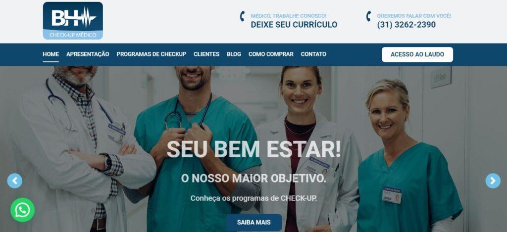 Criação do site de exames checkups médicos BH Checkup