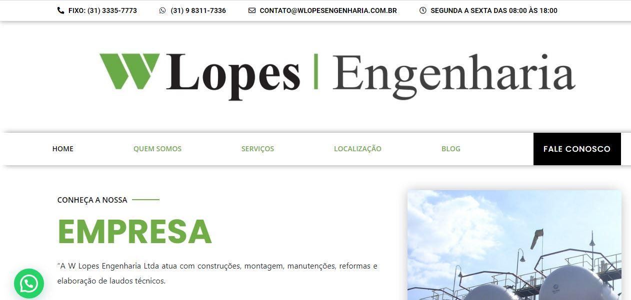 Criação do Site W Lopes Engenharia