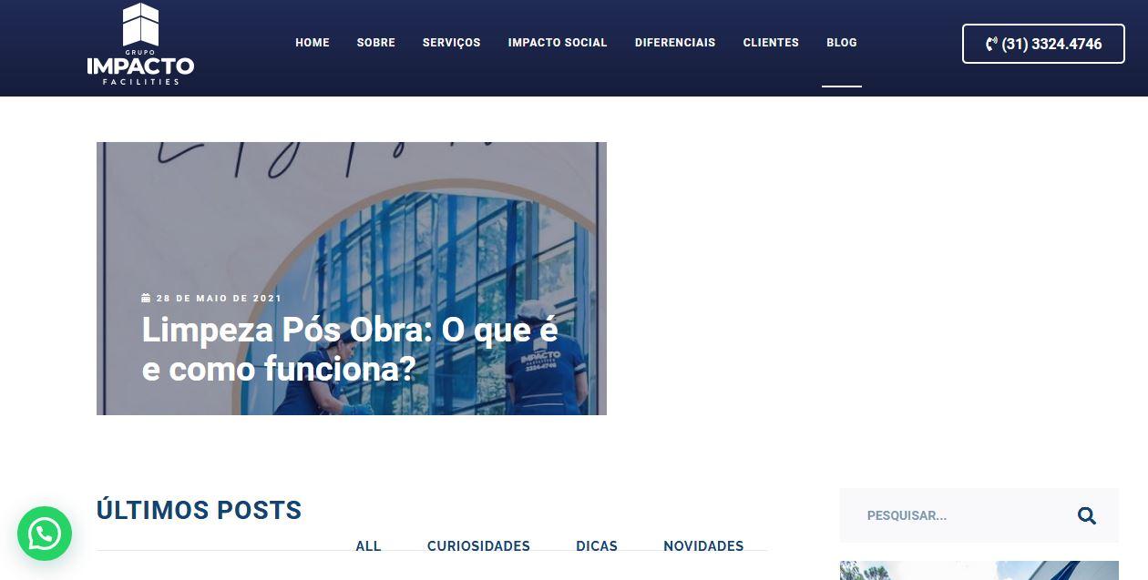Criação blog Grupo Impacto Facilities