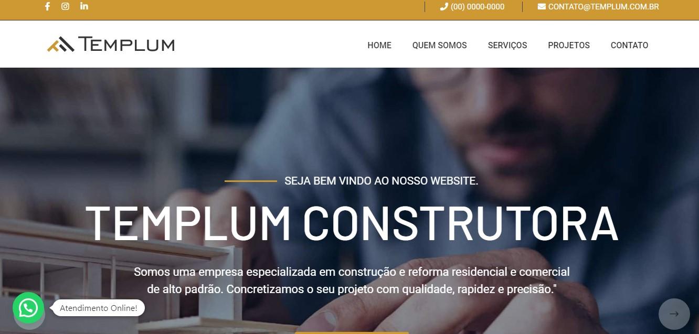 Criação do Site Templum Construtora. Desenvolvimento do site para a construtora Templum. Clique, acesse e conheça!