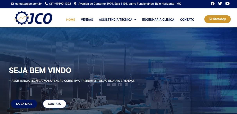 Criação do Site JCO Medical. Desenvolvimento de sites para empresas de engenharia e manutenções hospitalares JCO Medical, clique e conheça!