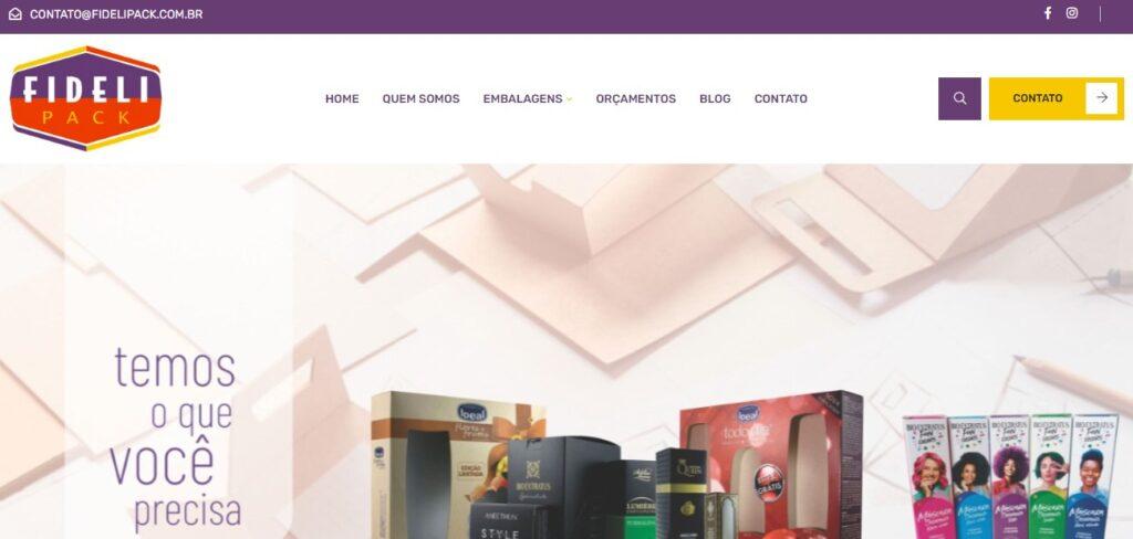 Criação do Site Fidelipack. Agência de desenvolvimento de sites para Fabricação de Embalagens. Clique e conheça!